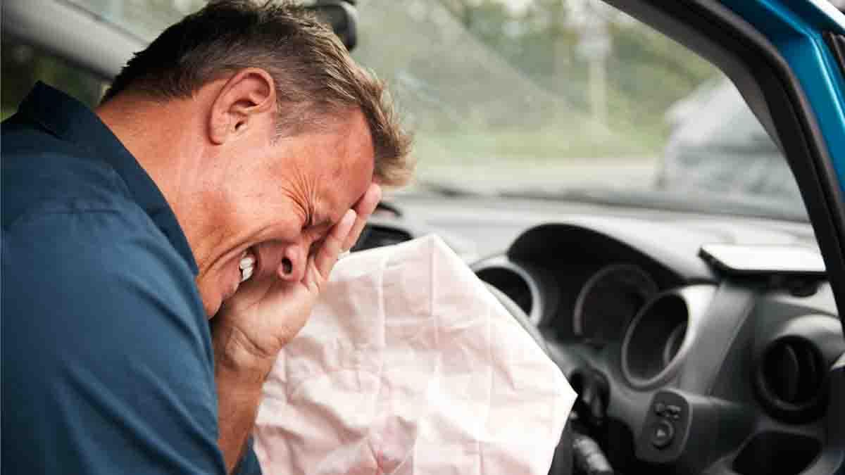Perito lesiones airbag en coche. Dolor y daños producidos