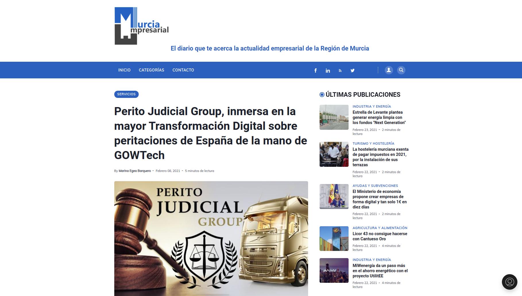 El diario MurciaEmpresarial se hace eco de la colaboración entre GOWtech y Perito Judicial Group